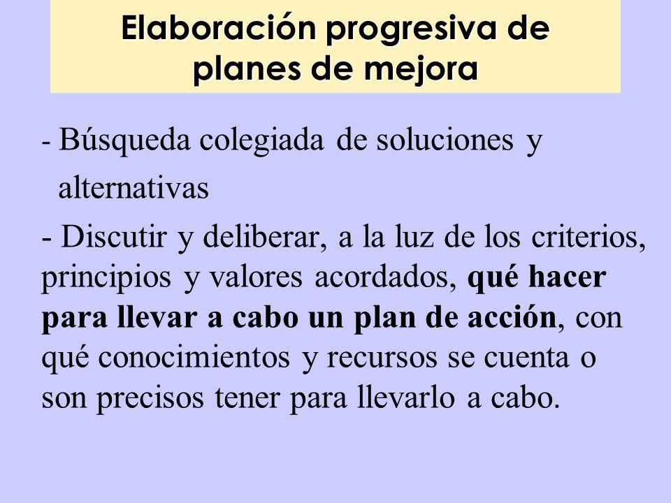 Elaboración progresiva de planes de mejora