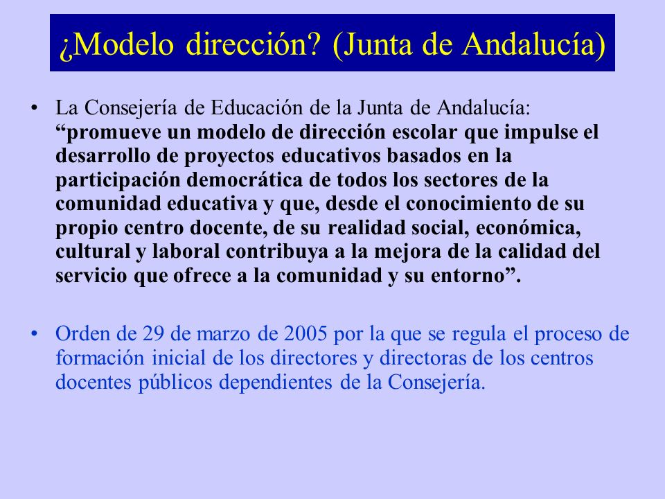 ¿Modelo dirección (Junta de Andalucía)