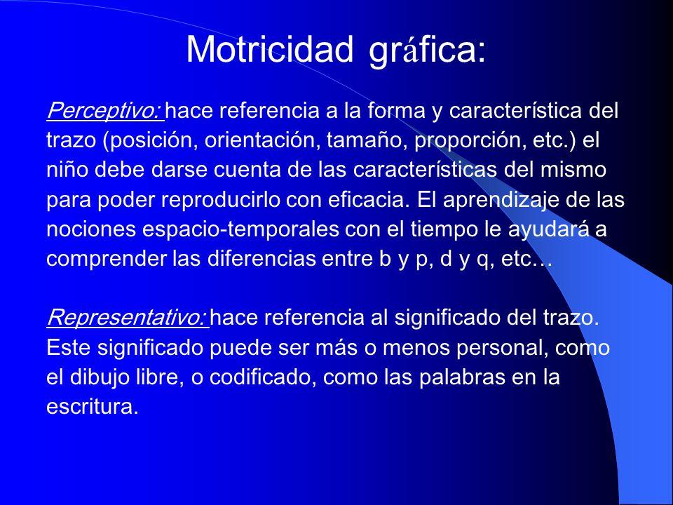 Motricidad gráfica: Perceptivo: hace referencia a la forma y característica del. trazo (posición, orientación, tamaño, proporción, etc.) el.