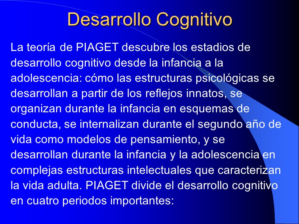 Desarrollo Cognitivo La teoría de PIAGET descubre los estadios de