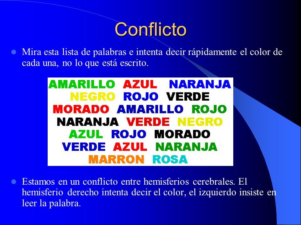 Conflicto Mira esta lista de palabras e intenta decir rápidamente el color de cada una, no lo que está escrito.