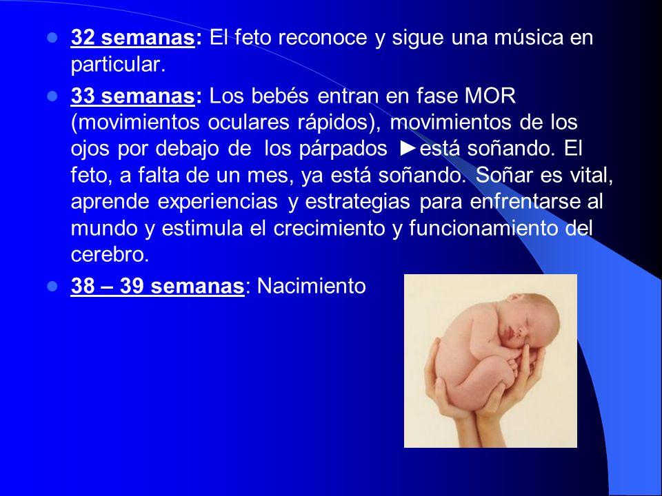 32 semanas: El feto reconoce y sigue una música en particular.