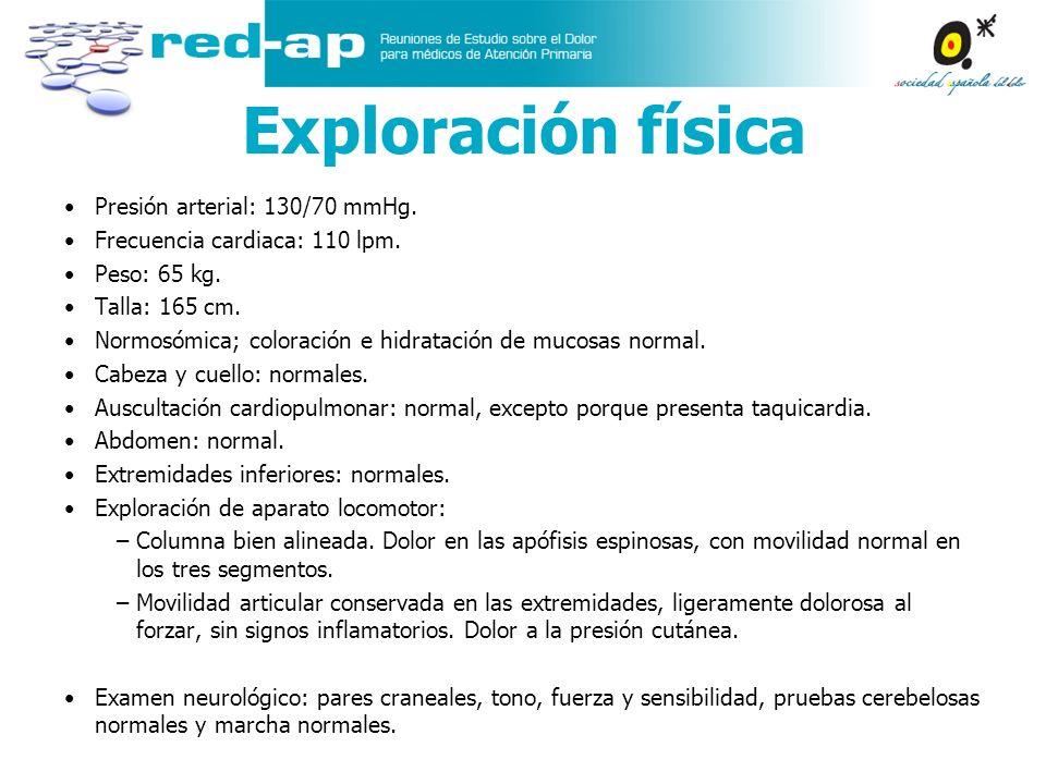 Exploración física Presión arterial: 130/70 mmHg.
