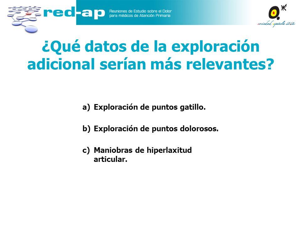 ¿Qué datos de la exploración adicional serían más relevantes