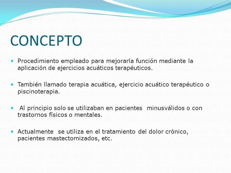 CONCEPTO Procedimiento empleado para mejorarla función mediante la aplicación de ejercicios acuáticos terapéuticos.