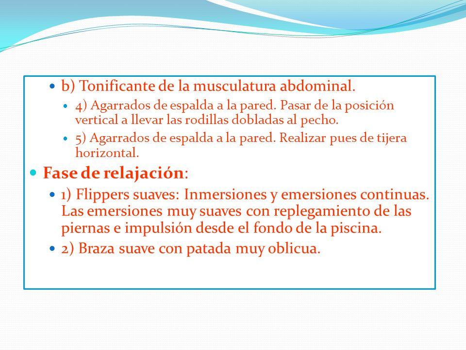 Fase de relajación: b) Tonificante de la musculatura abdominal.