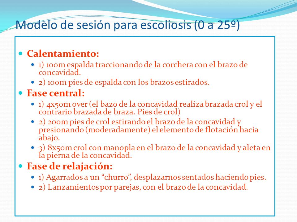Modelo de sesión para escoliosis (0 a 25º)