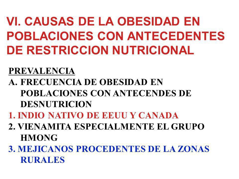 VI. CAUSAS DE LA OBESIDAD EN POBLACIONES CON ANTECEDENTES DE RESTRICCION NUTRICIONAL