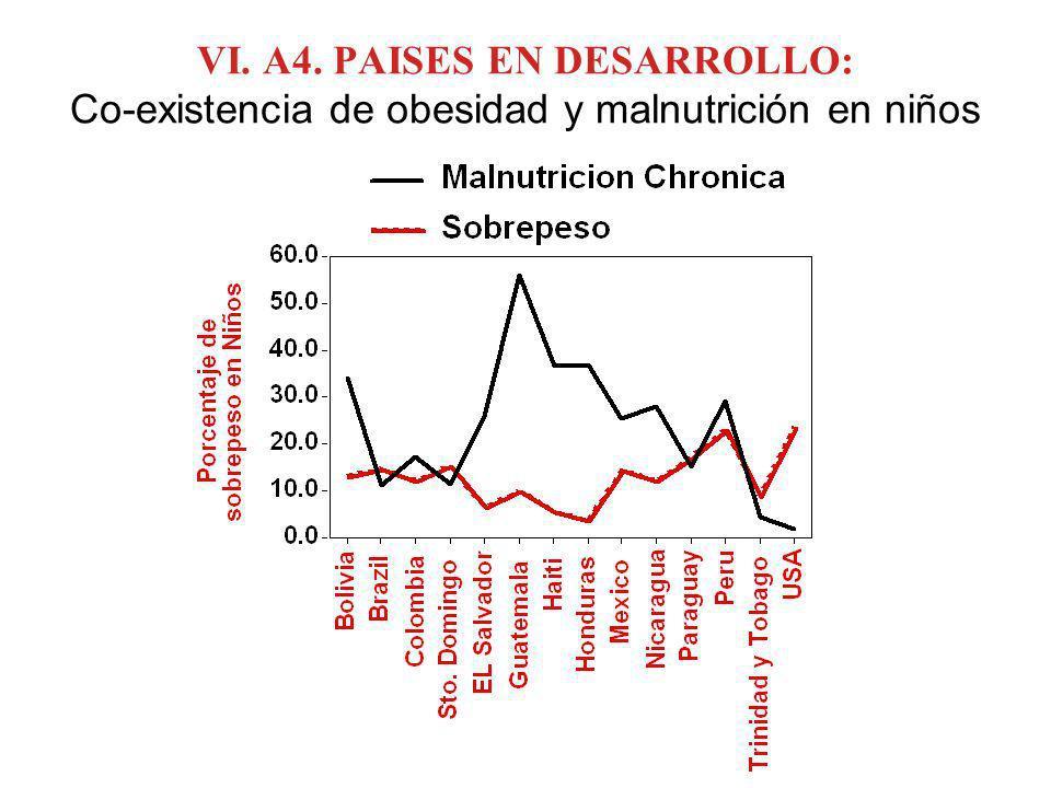 VI. A4. PAISES EN DESARROLLO: Co-existencia de obesidad y malnutrición en niños