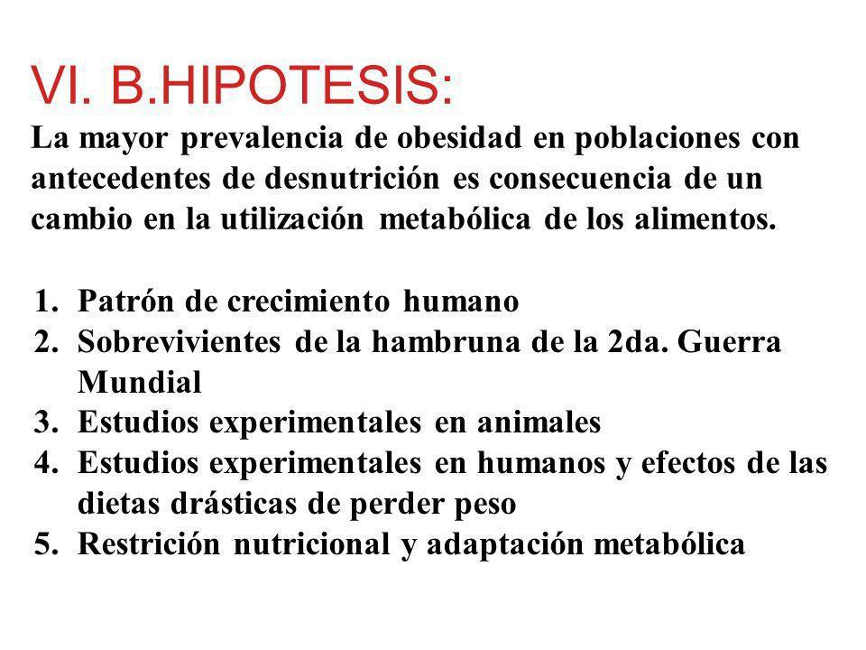 VI. B.HIPOTESIS: La mayor prevalencia de obesidad en poblaciones con antecedentes de desnutrición es consecuencia de un cambio en la utilización metabólica de los alimentos.