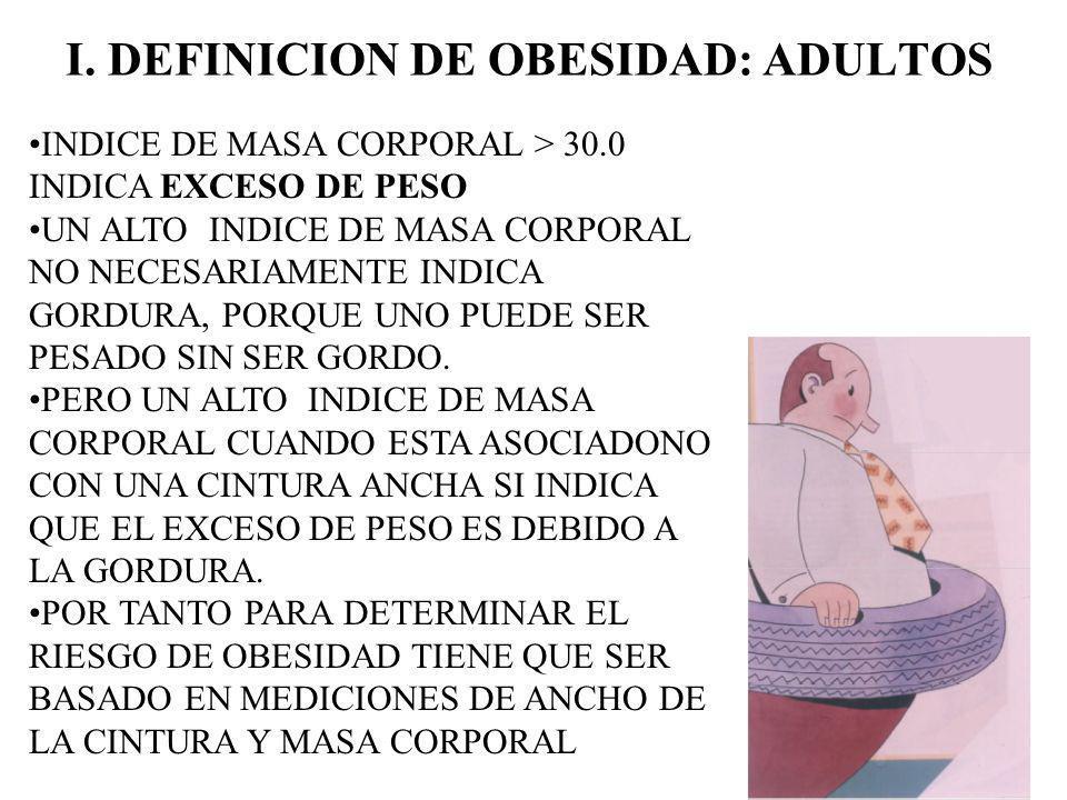 I. DEFINICION DE OBESIDAD: ADULTOS