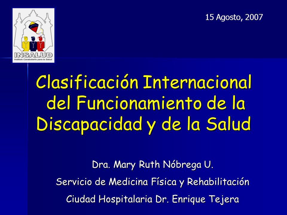 15 Agosto, 2007 Clasificación Internacional del Funcionamiento de la Discapacidad y de la Salud.