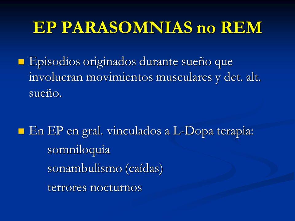 EP PARASOMNIAS no REM Episodios originados durante sueño que involucran movimientos musculares y det. alt. sueño.