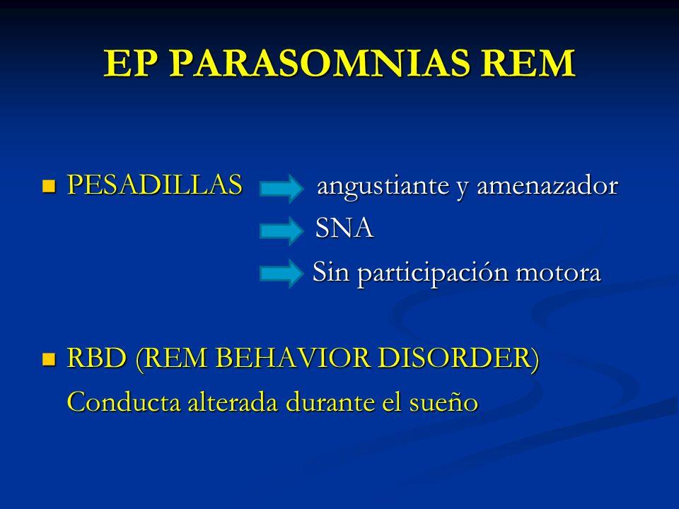 EP PARASOMNIAS REM PESADILLAS angustiante y amenazador SNA