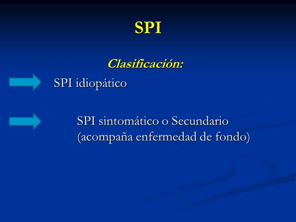 SPI Clasificación: SPI idiopático SPI sintomático o Secundario (acompaña enfermedad de fondo)