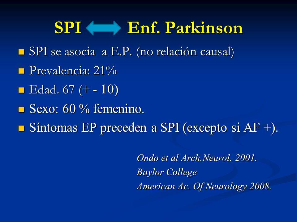 SPI Enf. Parkinson SPI se asocia a E.P. (no relación causal)