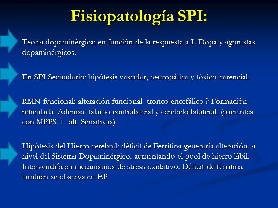 Fisiopatología SPI: Teoría dopaminérgica: en función de la respuesta a L-Dopa y agonistas dopaminérgicos.