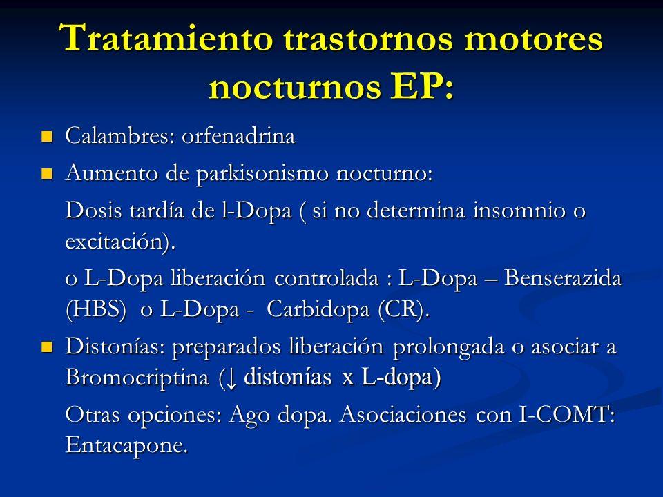 Tratamiento trastornos motores nocturnos EP: