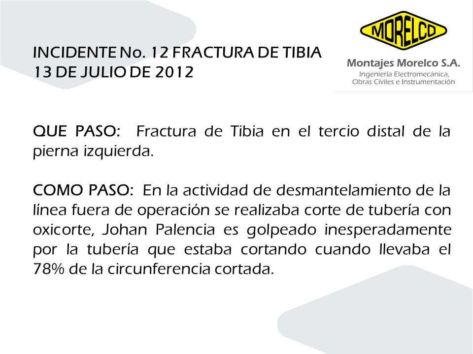INCIDENTE No. 12 FRACTURA DE TIBIA