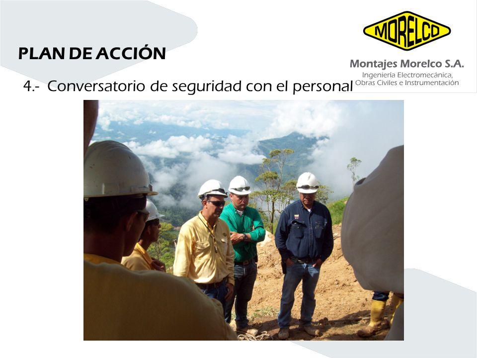 PLAN DE ACCIÓN 4.- Conversatorio de seguridad con el personal