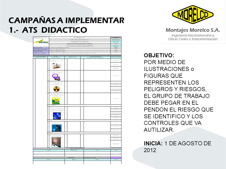 CAMPAÑAS A IMPLEMENTAR 1.- ATS DIDACTICO