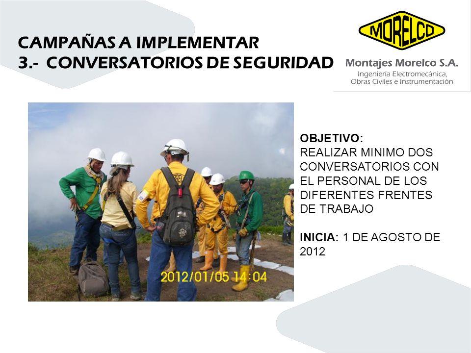 CAMPAÑAS A IMPLEMENTAR 3.- CONVERSATORIOS DE SEGURIDAD