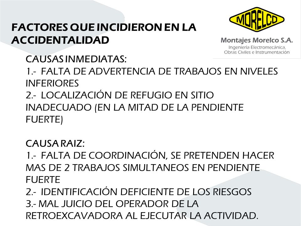 FACTORES QUE INCIDIERON EN LA ACCIDENTALIDAD