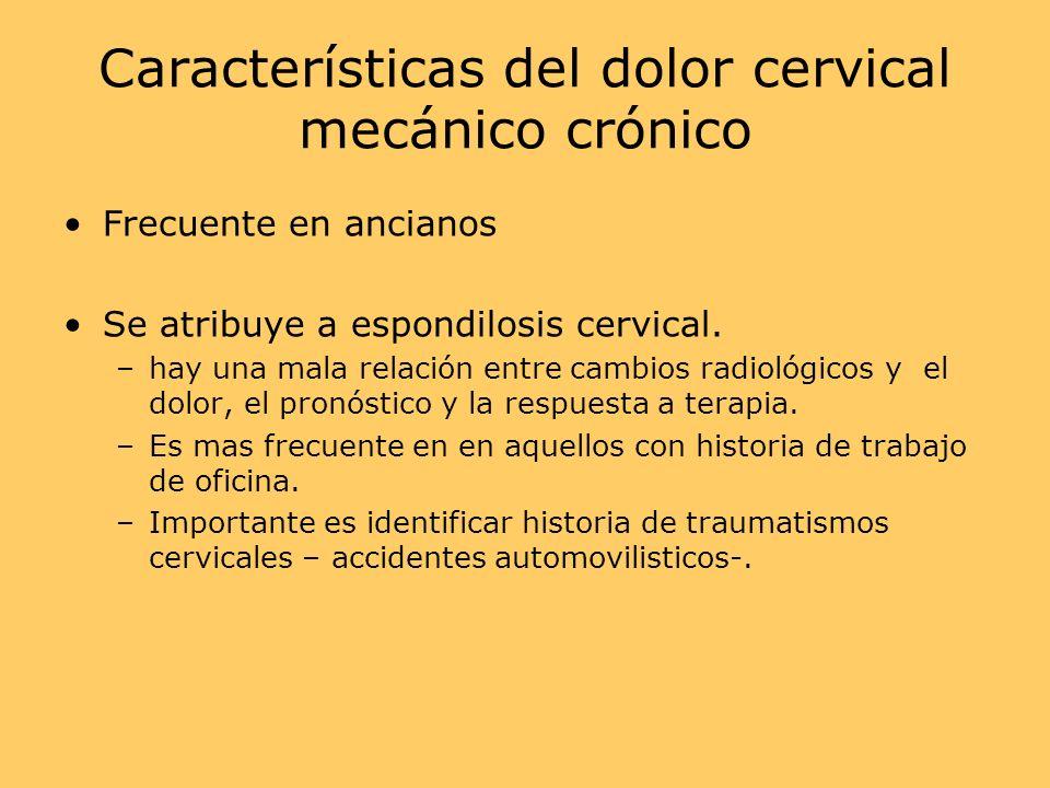 Características del dolor cervical mecánico crónico