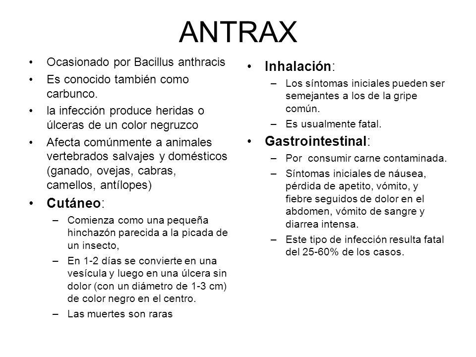 ANTRAX Inhalación: Gastrointestinal: Cutáneo: