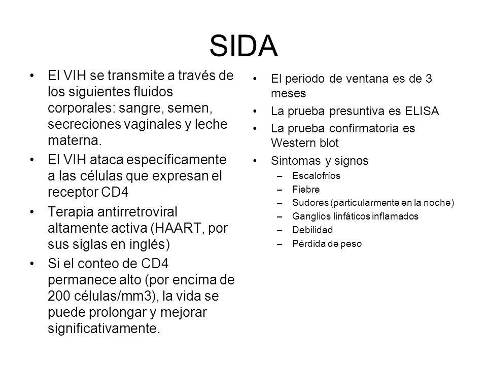 SIDA El VIH se transmite a través de los siguientes fluidos corporales: sangre, semen, secreciones vaginales y leche materna.