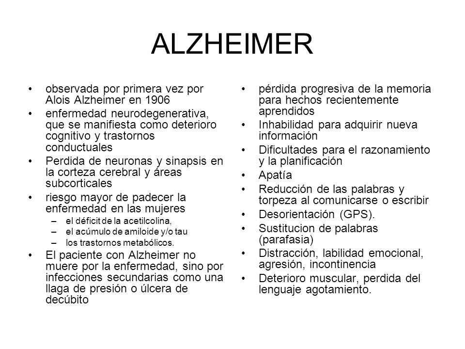 ALZHEIMER observada por primera vez por Alois Alzheimer en 1906
