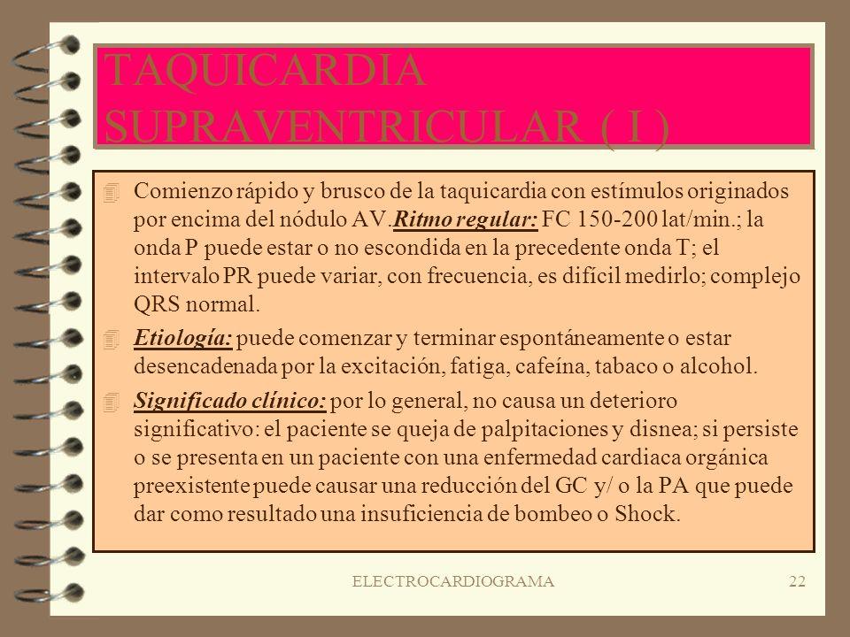 TAQUICARDIA SUPRAVENTRICULAR ( I )