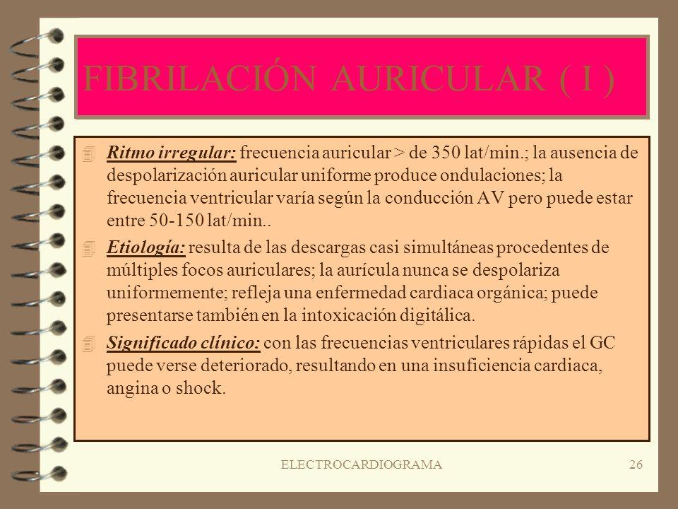 FIBRILACIÓN AURICULAR ( I )