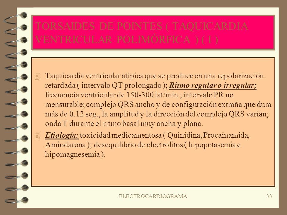 TORSAIDES DE POINTES ( TAQUICARDIA VENTRICULAR POLIMÓRFICA ) ( I )