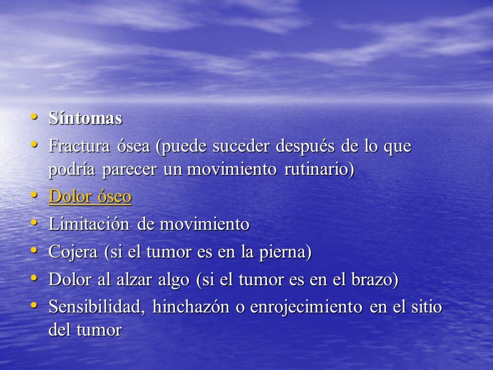 Síntomas Fractura ósea (puede suceder después de lo que podría parecer un movimiento rutinario) Dolor óseo.
