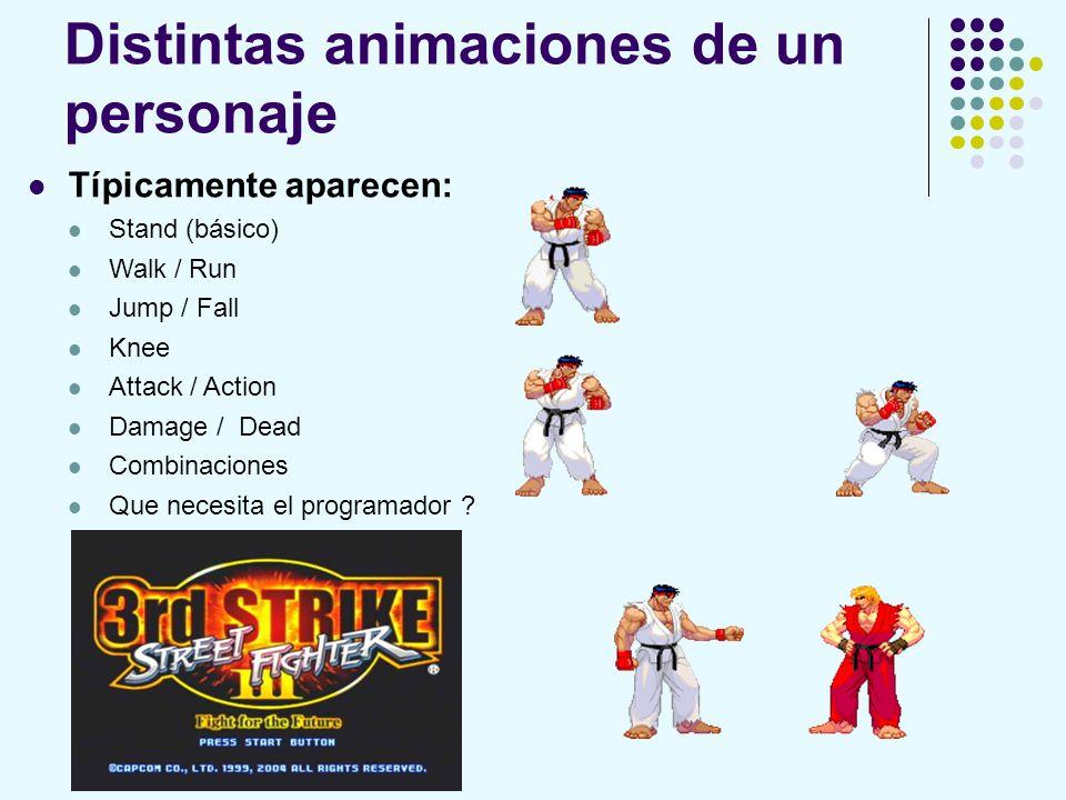 Distintas animaciones de un personaje