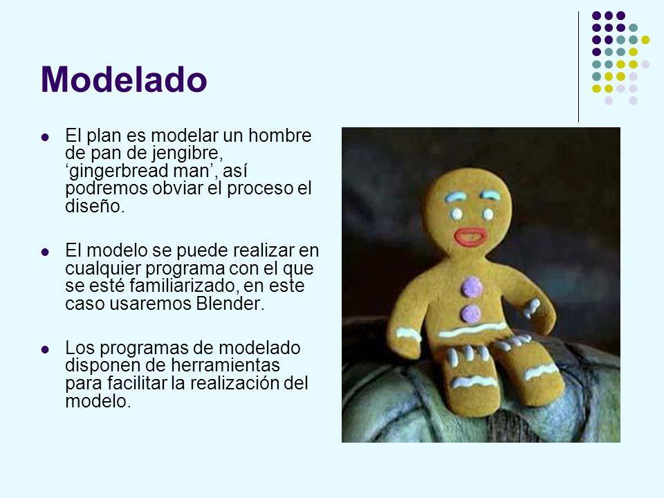 Modelado El plan es modelar un hombre de pan de jengibre, 'gingerbread man', así podremos obviar el proceso el diseño.