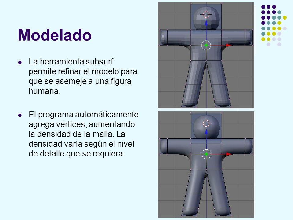 Modelado La herramienta subsurf permite refinar el modelo para que se asemeje a una figura humana.