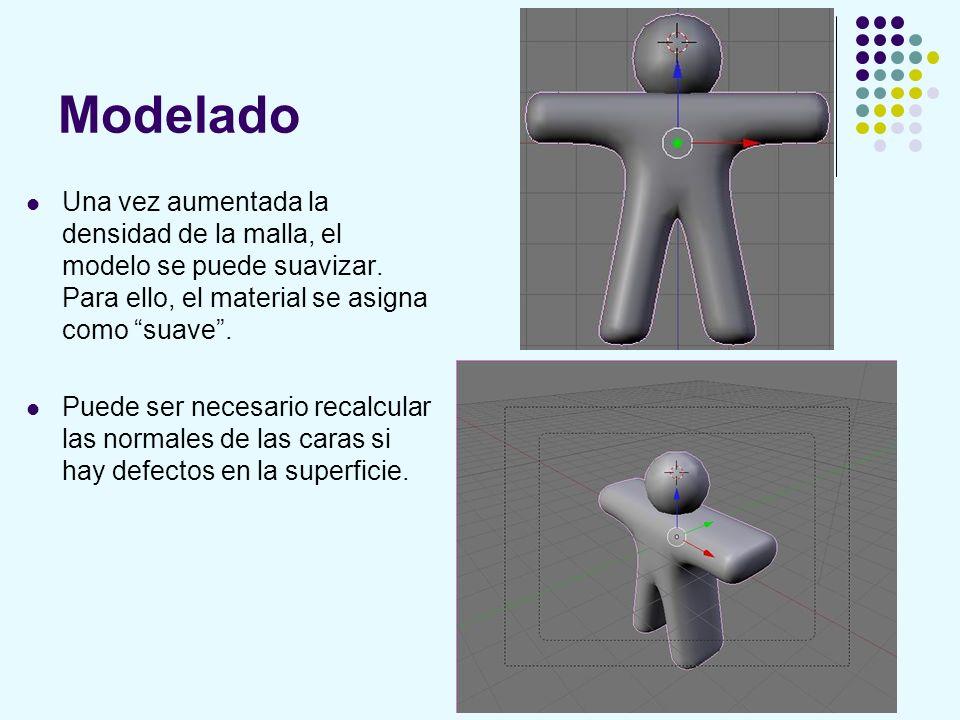Modelado Una vez aumentada la densidad de la malla, el modelo se puede suavizar. Para ello, el material se asigna como suave .