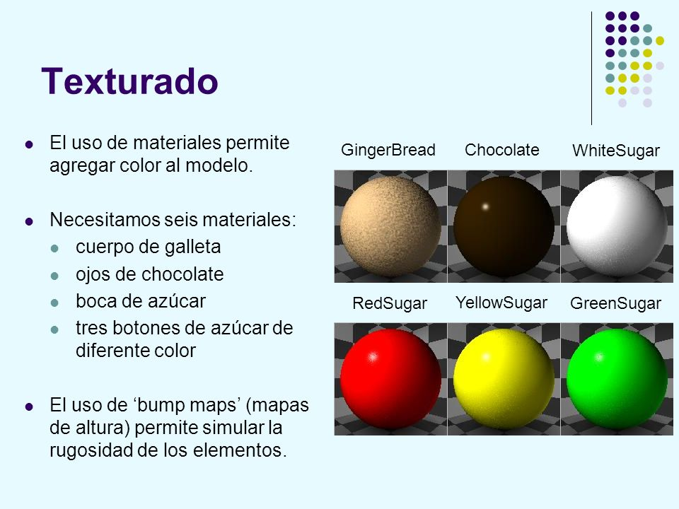 Texturado El uso de materiales permite agregar color al modelo.