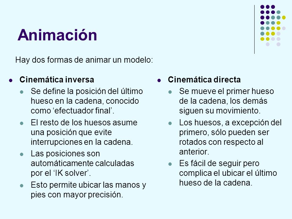 Animación Hay dos formas de animar un modelo: Cinemática inversa