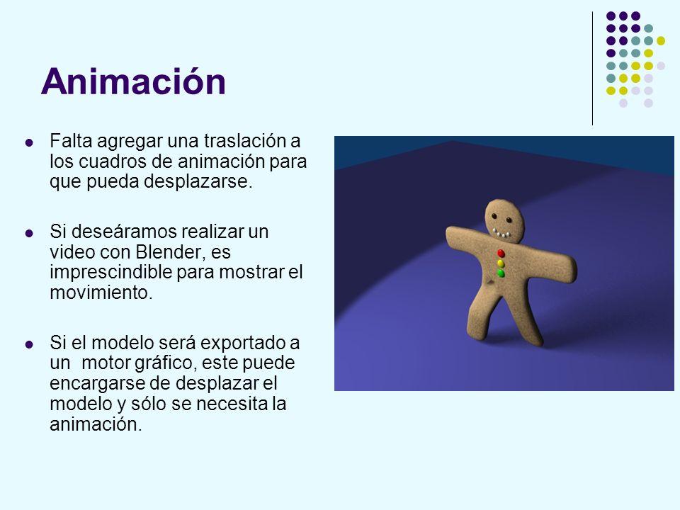 Animación Falta agregar una traslación a los cuadros de animación para que pueda desplazarse.