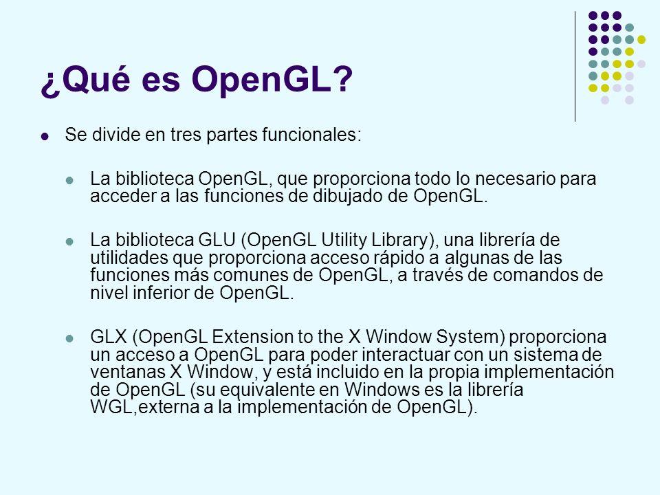 ¿Qué es OpenGL Se divide en tres partes funcionales: