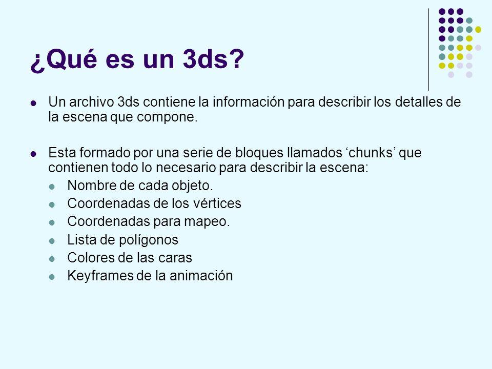 ¿Qué es un 3ds Un archivo 3ds contiene la información para describir los detalles de la escena que compone.