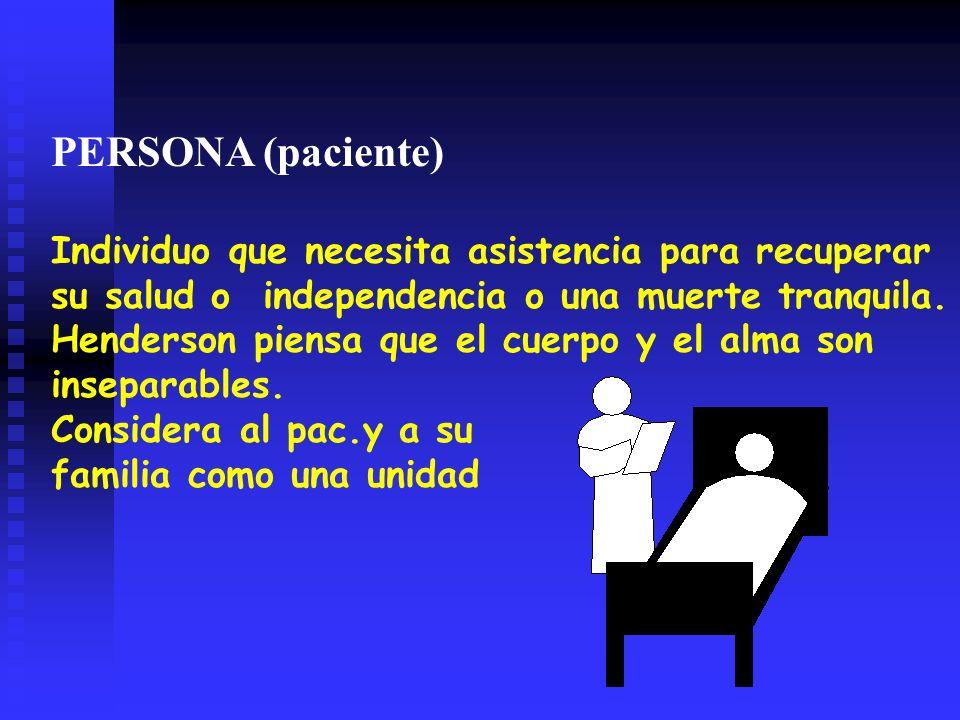 PERSONA (paciente) Individuo que necesita asistencia para recuperar