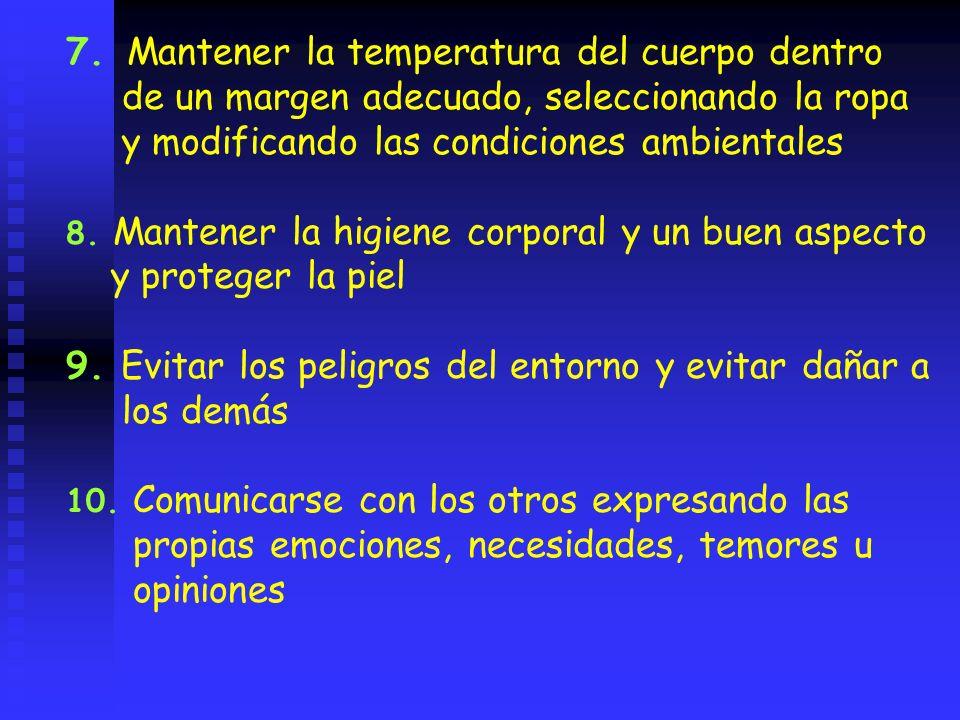 7. Mantener la temperatura del cuerpo dentro