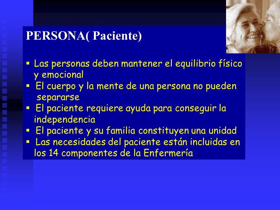 PERSONA( Paciente) Las personas deben mantener el equilibrio físico