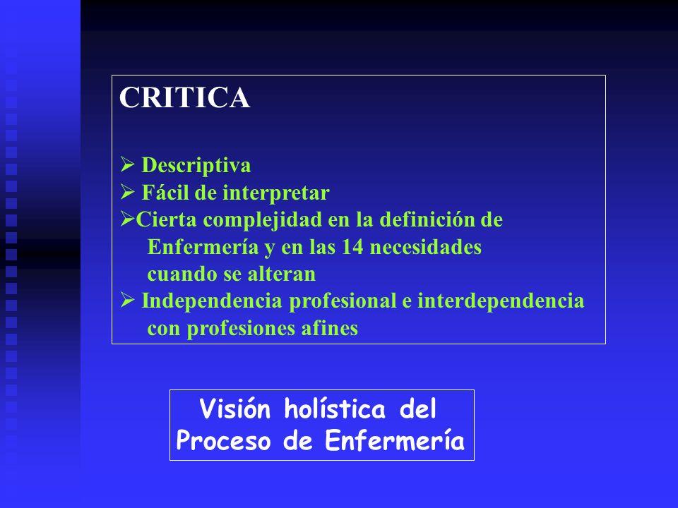 CRITICA Visión holística del Proceso de Enfermería Descriptiva