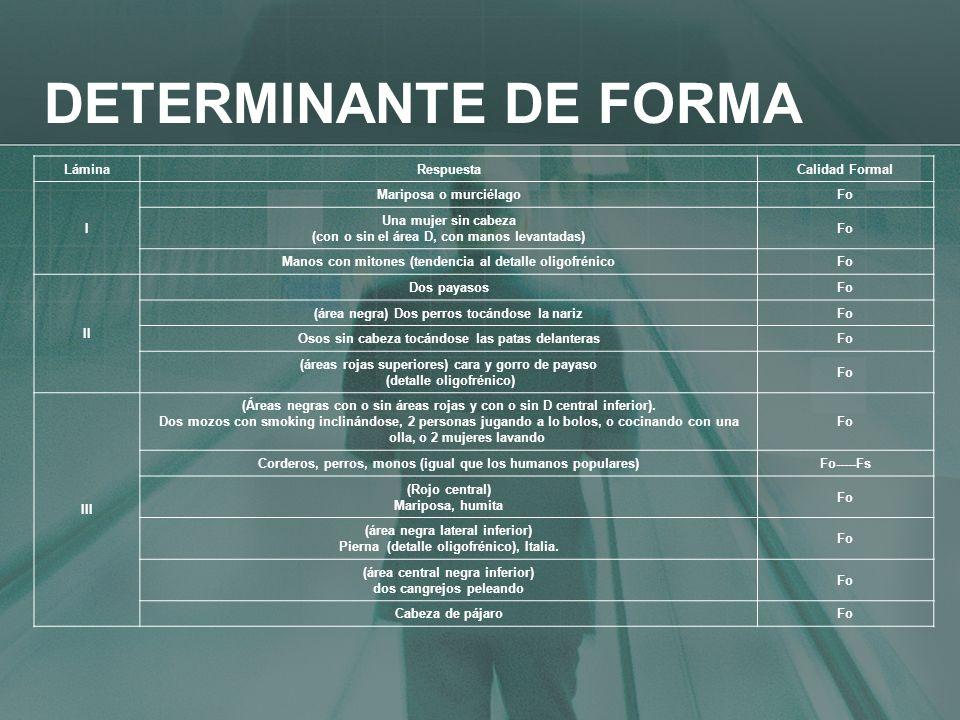 DETERMINANTE DE FORMA Lámina Respuesta Calidad Formal I