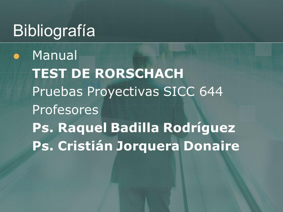 Bibliografía Manual TEST DE RORSCHACH Pruebas Proyectivas SICC 644